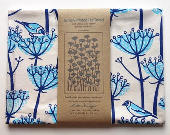 Tea Towel - Goldfinch screen-printed (blue)