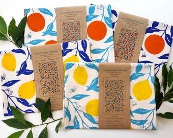 Tea Towel - Oranges and Lemons - screen-printed cotton