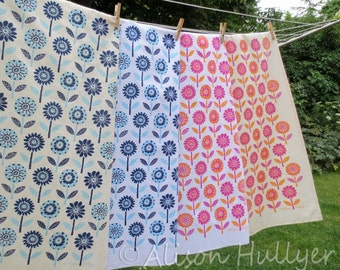 Tea Towel - Flower Garden (blue or pink)