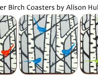 Coaster - Silver Birch & Birds - three colours to choose from