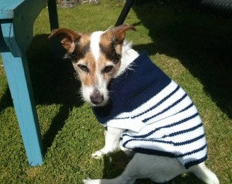 Navy white stripe jumper for small dog - in stock and ready to post