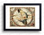 18th Century Antique Celestial Map Planetarium Digital Print - Vintage Wall Art Print Printable Graphics - INSTANT Digital Download.