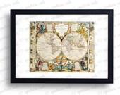 18th Century Antique World Map Double Hemisphere Digital Print - Vintage Wall Art Print Printable Graphics - INSTANT Digital Download.