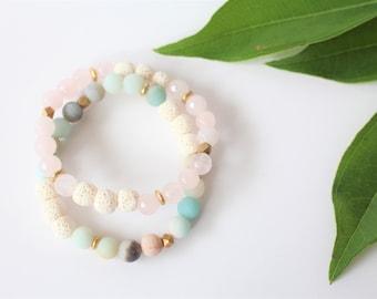 Amazonite & Rose Quartz Essential Oil Diffuser Bracelet Set  / Lava Jewelry / Oil Diffuser Jewelry / Lava Diffuser