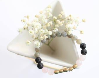 Rose Quartz + Labradorite Essential Oil Diffuser Bracelet / Aromatherapy Bracelet / Oil Diffuser / Essential Oil Jewelry / Lava Jewelry