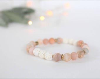 Sunstone Essential Oil Diffuser Bracelet / Aromatherapy Bracelet / Lava Bead / Oil Diffuser / Gemstone Diffuser / Essential Oil Jewelry