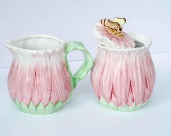 Adorable Vintage Bombay Company Floral Pink Ceramic Sugar Bowl and Creamer Pitcher Set- Flowers - Bees