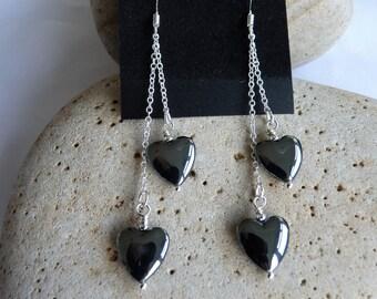 Double Hematite Heart Earrings 12mm Sterling Silver Scottish