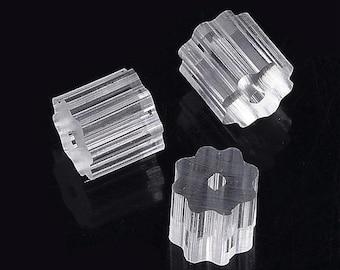 200Pcs Stainless Steel Plastic Earring Earnuts Earrings Back 11.5x6mm Hole 0.8mm