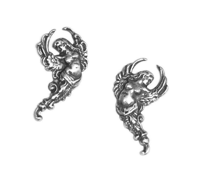 1pair--Cherub,Brass Stud Earrings B15-26 28x15mm Antique Silver