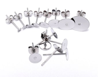 100pcs--3,4,5,6,8,10,12mm. Earring Posts, Stainless Steel, with clutch (B86)