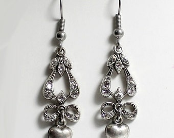 2pcs--Victorians Pendant Earring, Crystal Swarovski, Metal Stamping, 33x11mm (B32-2)