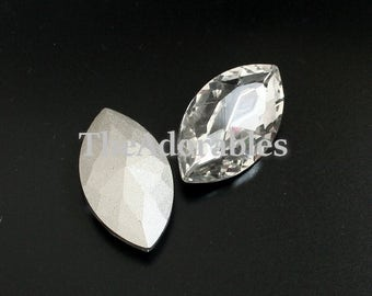 2pcs--Crystal Cabochons, Horse Eye, faceted, Crystal, 16x32mm (B30-25)