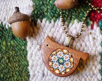 Wooden handmade bird pendant, Bird pendant, Marquetry, Mahogany wood, Khatam, beautiful marquetry pattern, unique, Christmas gift idea
