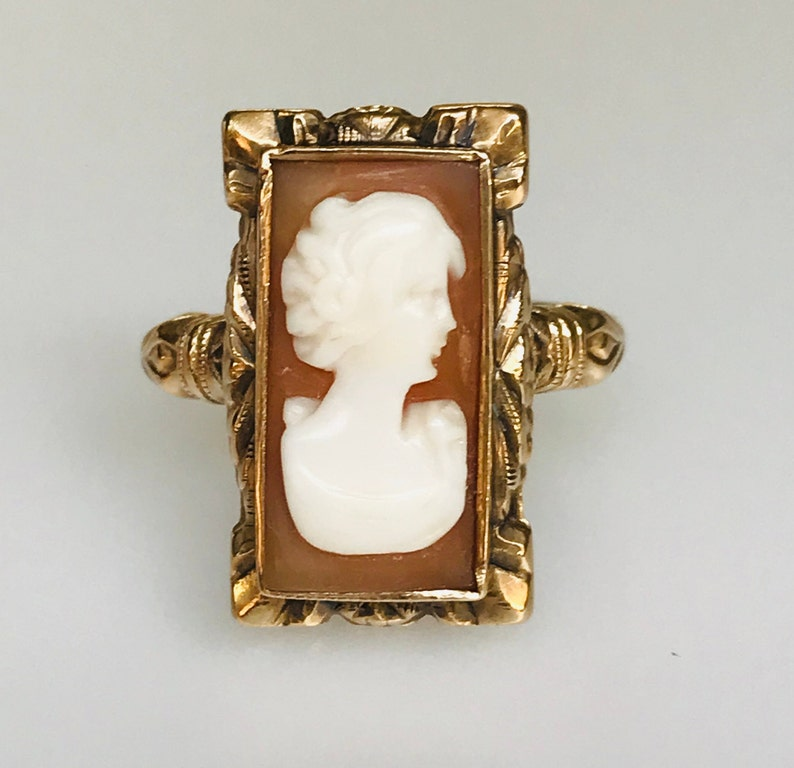 Rectangular Size 6.25 Vintage Shell Cameo Jewelry Antique Art Deco Cameo 10k Yellow Gold Ring