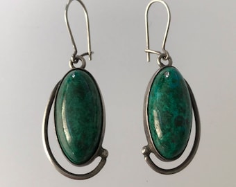 "Vintage Native American Navajo Sterling Silver and Green Chrysocolla Dangle Drop Modernist Earrings w Earwires  , 7g , 1"" Long"