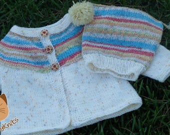 Baby Girl Hand-Knitted Cardigan and Hat Set, 3-9 months, Seamless, Fair Isle Round Yoke, Lemon Yellow, Turquoise and Coral