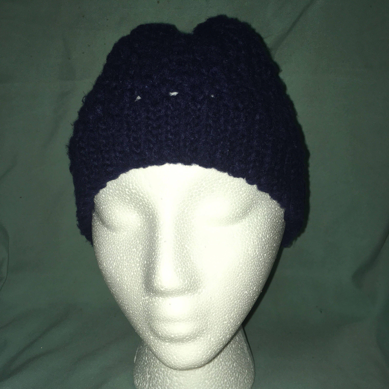 V-stitch beanie in navy blue  3be1fb02c65
