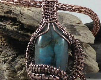 Oxidized copper wrapped labradorite cabachan with 24 inch Oxidized copper Viking knit chain . All handmade