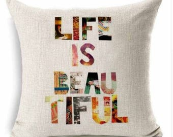 Colorful Life is Beautiful Pillow Cover