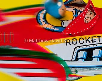 Rocket Racer, Toy, Antique, Bold, Pop, Color, Photograph.