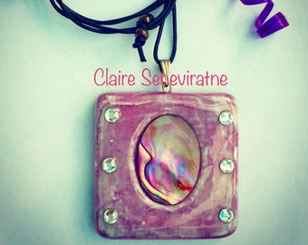 Pink square pendant with abalone and swarovski crystals. Pink square necklace. Special gift for a friend.