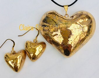 Gold heart pendant, gold heart earring set, gold heart necklace with matching heart earrings. Special birthday gift.