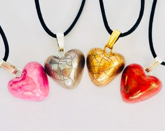 Heart pendants, gold, silver, red or pink. Beautiful affordable gift.