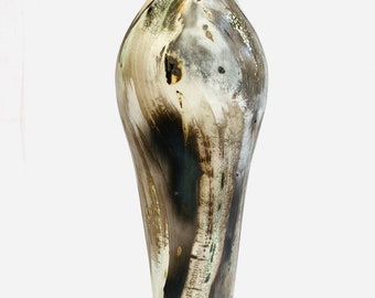 Tall smoke-fired ceramic pot with gold, special gift.