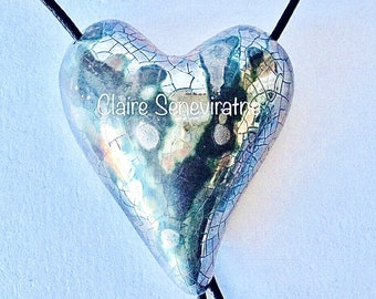 Large silver heart pendant. Adjustable unique silver heart necklace.