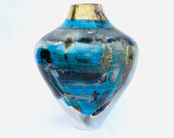Blue smoke-fired pot with gold, special gift for art lovers.