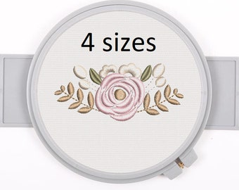 Floral Monogram Embroidery Fonts Design Bundle Flower Bunch Motif Design 6 INCH TALL Full Set Letters Machine Embroidery Instant Download
