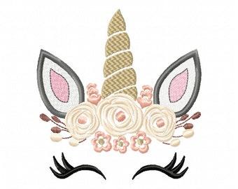 Pretty Unicorn Eyes Head Floral Design - Unicorn EMBROIDERY DESIGN FILE - Unicorn Shabby Chic Face Instant download - 5 sizes
