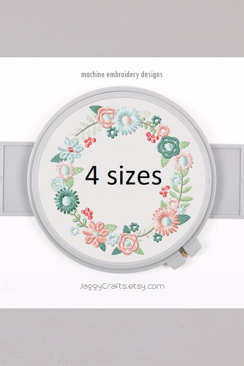 Floral Wreath Embroidery Frame Design with SPRING flowers in 4 image 0