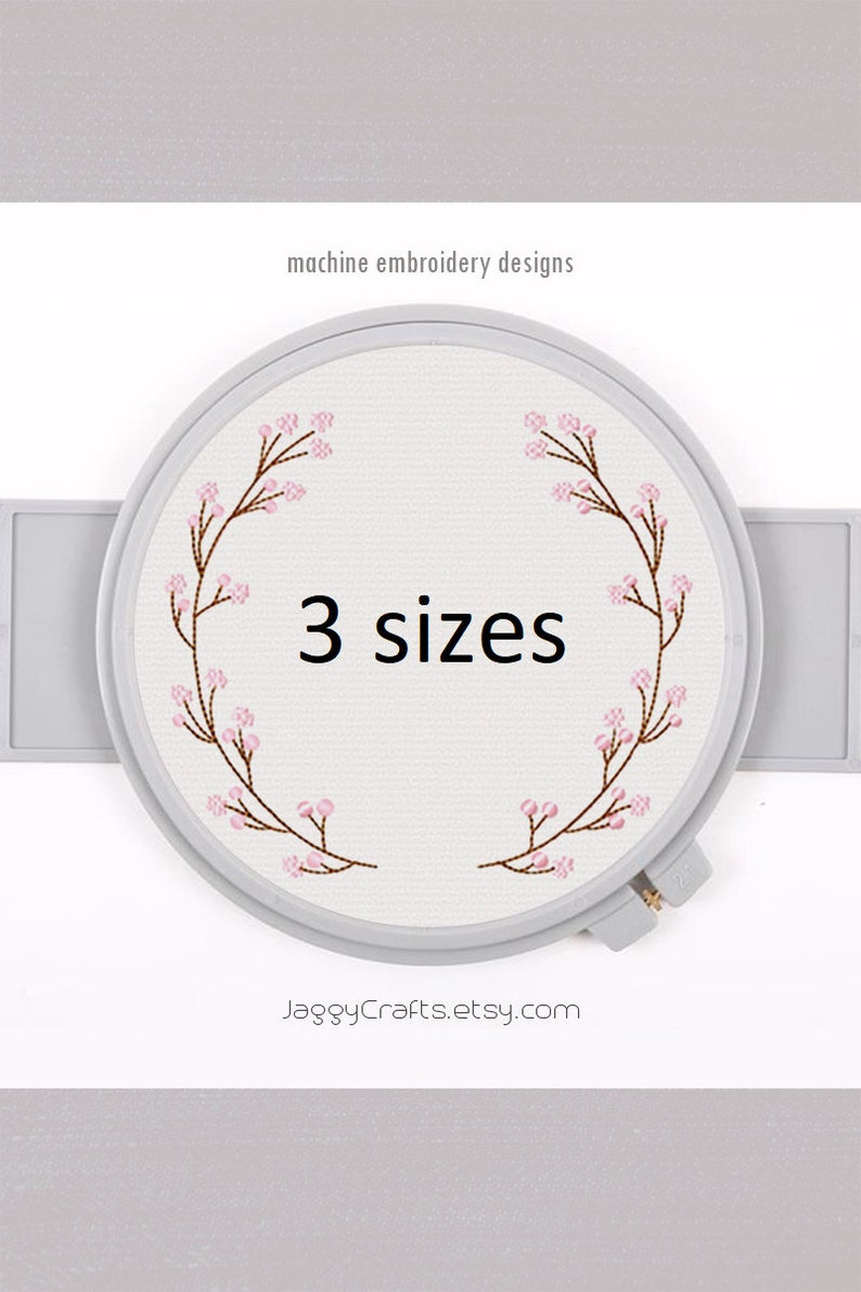Sakura wreath embroidery frame design for monogram font border image 0