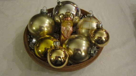 8pc Antique Vintage Mercury Glass Christmas Tree Ornaments Silver Gold Premier Rauch Usa Old World Germany Glitter Ball Stripe Angel