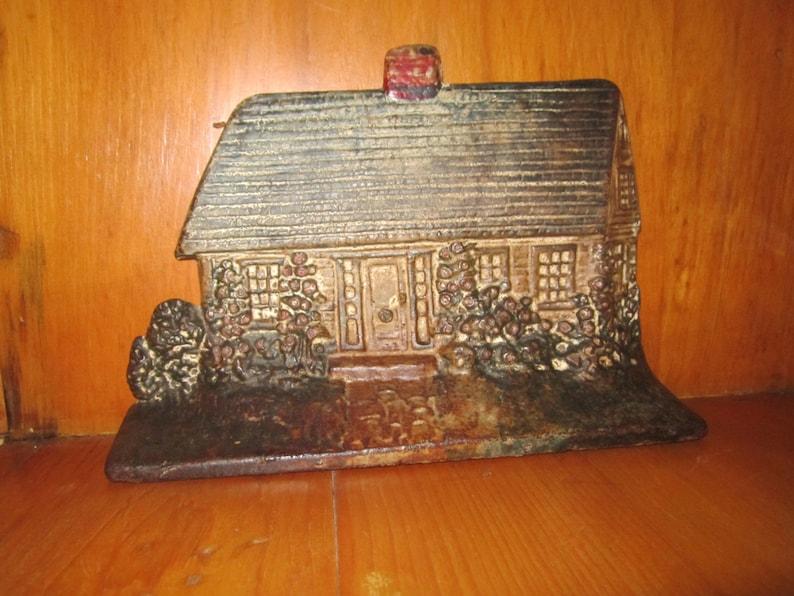 image 0 ... & Genuine Antique Vintage Cast Iron Doorstop Log Cabin Cottage | Etsy