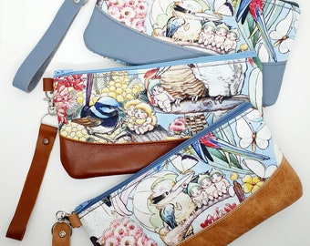 May Gibbs leather clutch wristlet purse, gumnut babies Australian gift for her mum sister, birthday christmas present custom leather colour