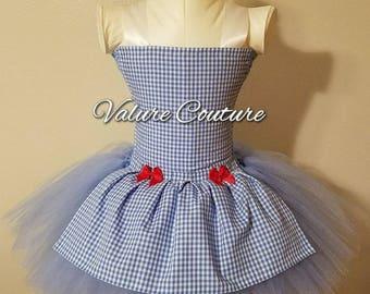 Inspired Tutu Dress Costume Infant Toddler Girls Baby Newborn Halloween Birthday Outfit Blue White Gingham Check