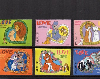 Gorgeous Disney Love unused mint postage stamps. Palau Lion King, Aristocats, Thumper  Craft art supply, framing, invitations, scrapbooking.