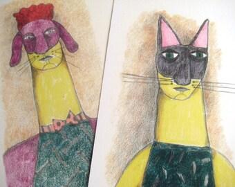 Láminas Hombre y mujer con máscara, lámina perro y lámina gato,  ilustraciones con pareja, ilustración perro, ilustración gato