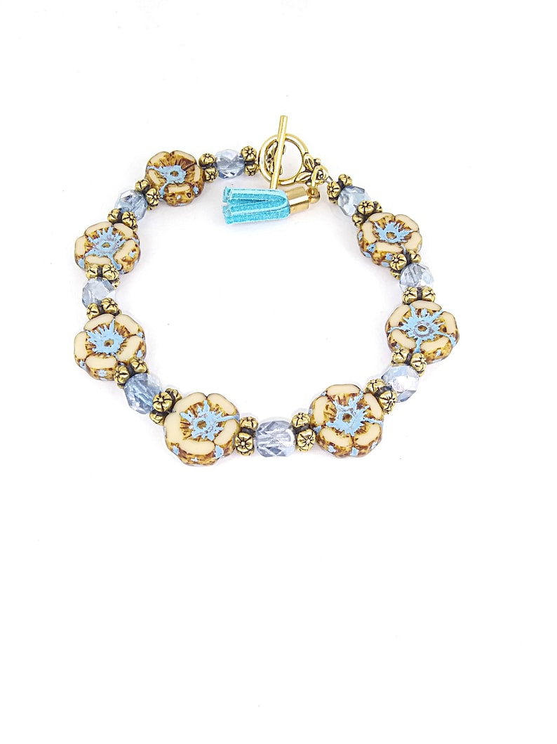 gift for her Czech glass flower bracelet