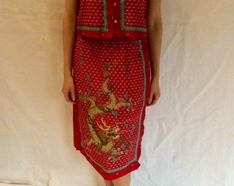 3ac3fd20a 1980s Chinese Vest and Skirt Set
