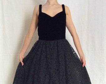 8498947194 Black Velvet and Lace 1960s Cocktail Dress