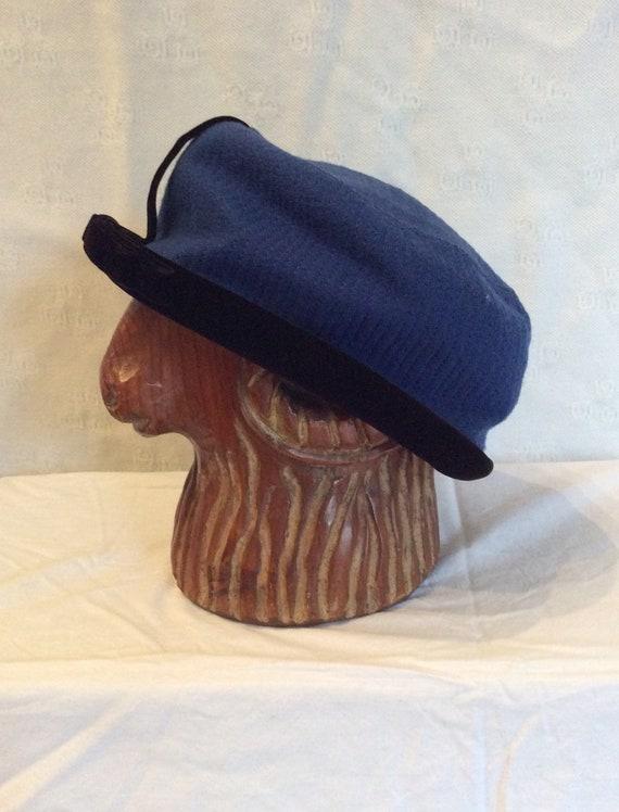 1950s Gottlieb Blue and Black Velvet Pillbox Hat - image 1