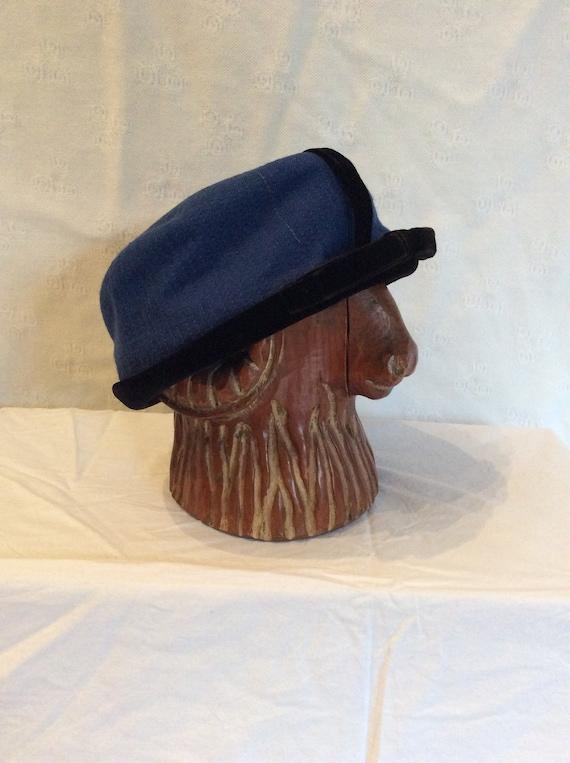 1950s Gottlieb Blue and Black Velvet Pillbox Hat - image 3