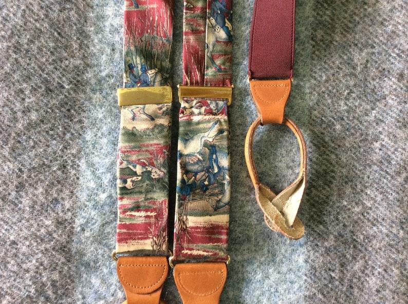 1990s Silk Hunt Scene Suspenders