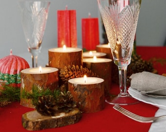 Wooden Candle Holders, Pine Branches Candle Holders Set Of 7, Christmas Table Centerpiece, Hygge Home
