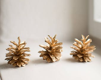 Golden Pine Cones, Natural Pinecones Painted In Gold, Christmas Table Centerpiece, Winter Wedding Decor, Vase Bowl Filler