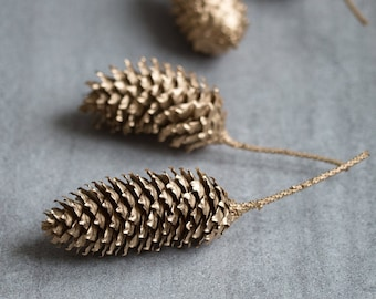 Gold Painted Real Cones, Golden Christmas Decor, Set of 6, Winter Wedding Centerpiece, Christmas Table Decorations